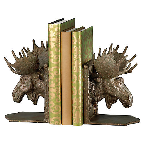 S/2 Moose Head Bookends, Bronze
