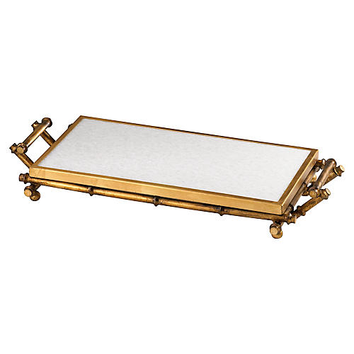 "26"" Bamboo Serving Tray, Gold/White"