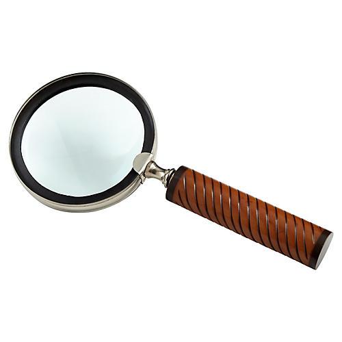 """9"""" Holding Magnifier, Oak/Nickel"""