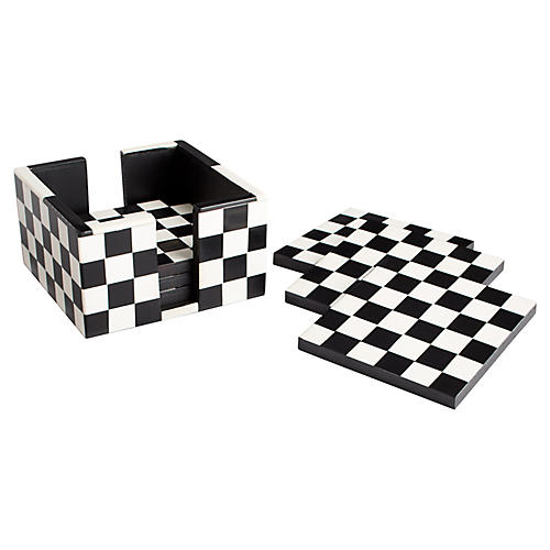 S/6 Checkmate Coasters, Black/White
