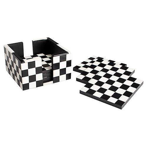 S/6 Checkmate Coasters, Black/White