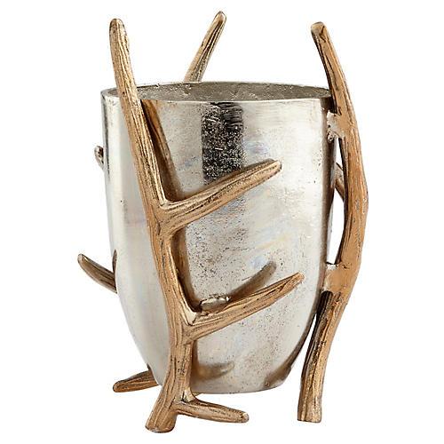 "11"" Night Watch Antler Vase, Silver/Gold"