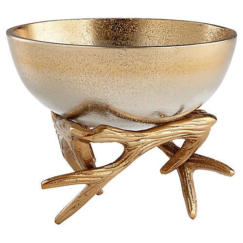 "6"" Anchored Antler Bowl, Gold/Nickel"