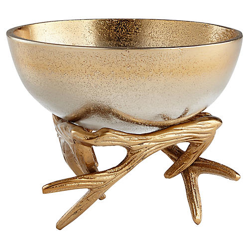 "6"" Anchored Antler Bowl, Gold/Nickel"