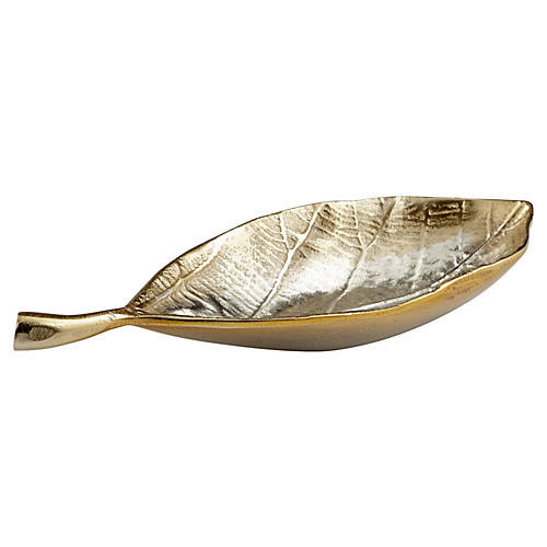 Mocking Leaf Tray, Silver/Gold