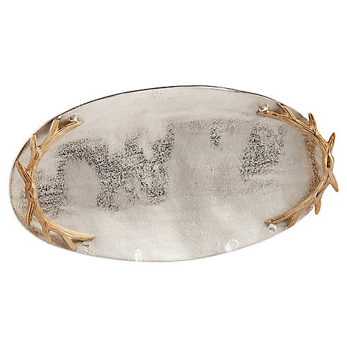 "21"" Oval Antler-Handle Tray, Silver/Gold"
