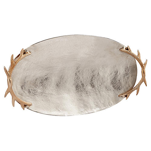 "27"" Oval Antler-Handle Tray, Silver/Gold"