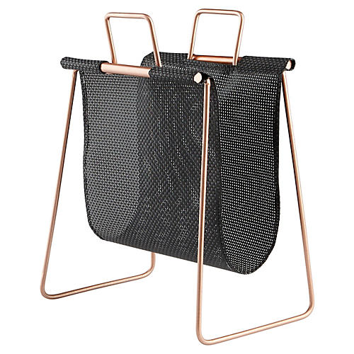"19"" Handle-It Magazine Rack, Black"