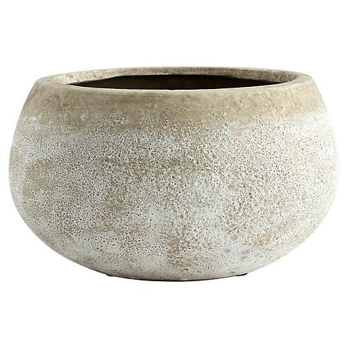 "8"" Round Stoney Planter, Ash"