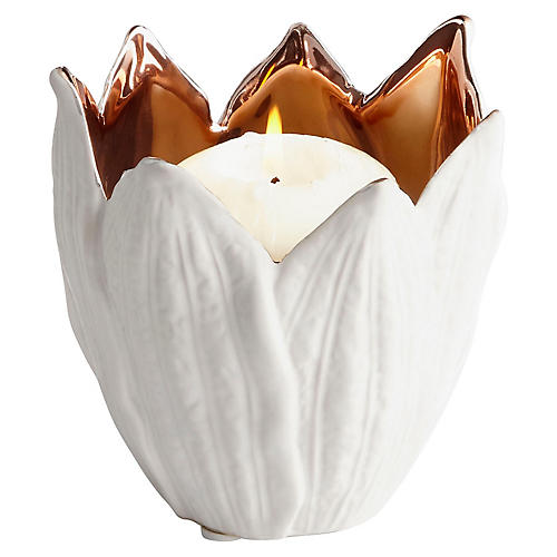 Enamored Candleholder, White/Copper