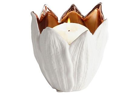 Enamored Candleholder, White/Copper