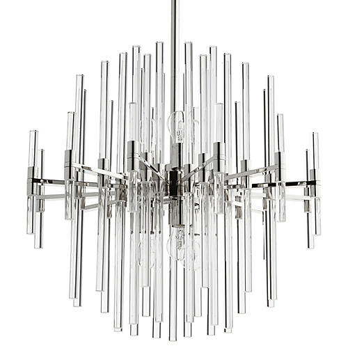 Large Quebec Pendant, Polished Nickel/Clear