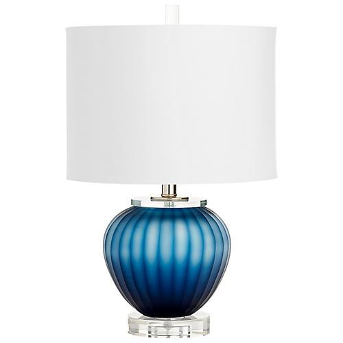 Crystal Halden Table Lamp, Blue/Clear