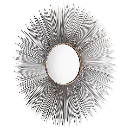 Aludra Large Wall Mirror, Antiqued Zinc