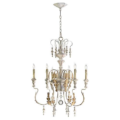 Motivo 6-Light Chandelier, Persian White/Gold