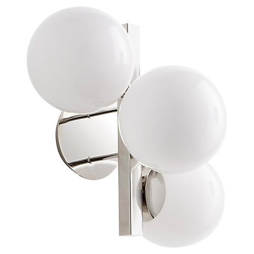 Atom 3-Light Sconce, Nickel/White