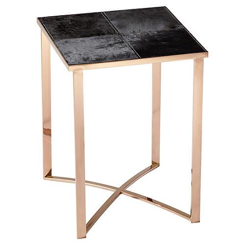 Modern Reality Side Table, Black/Satin Brass