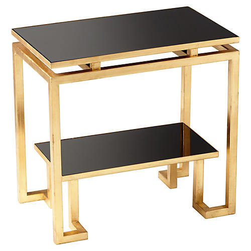 Midas Side Table, Black/Gold Leaf