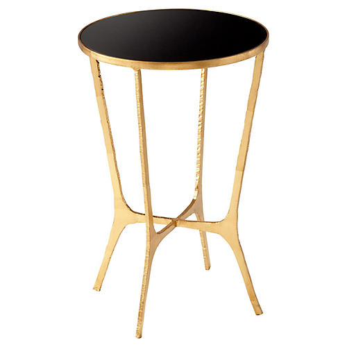 Floyd Side Table, Black/Gold Leaf
