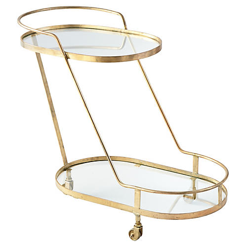 Patin Bar Cart, Brass