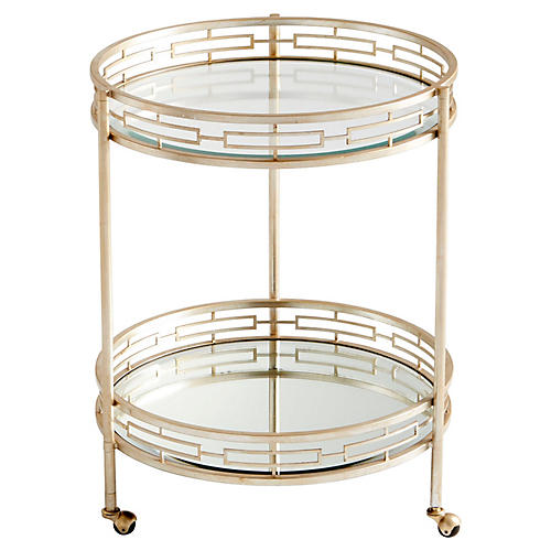Gilded Bar Cart, Antiqued Silver