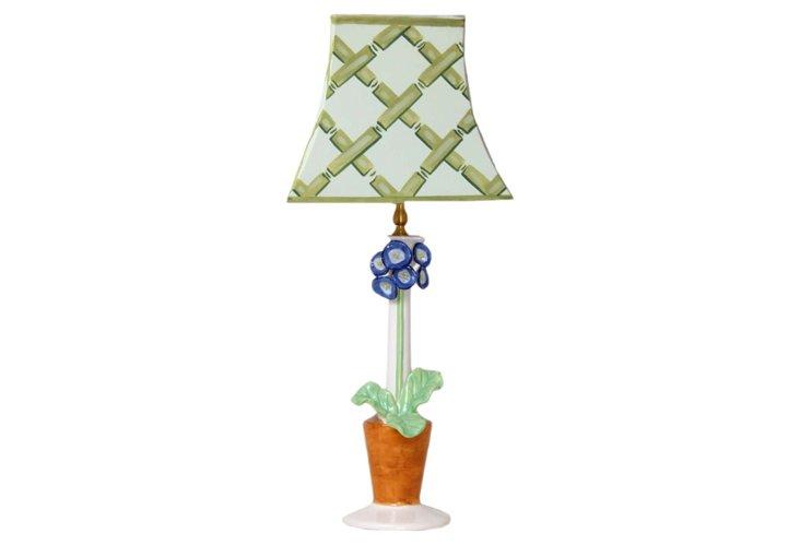 Blue Primula Candlestick Lamp