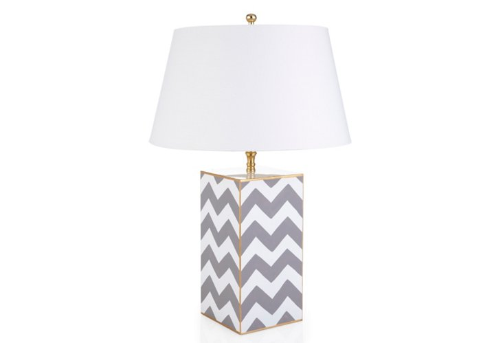 Chevron Vase Lamp, Gray