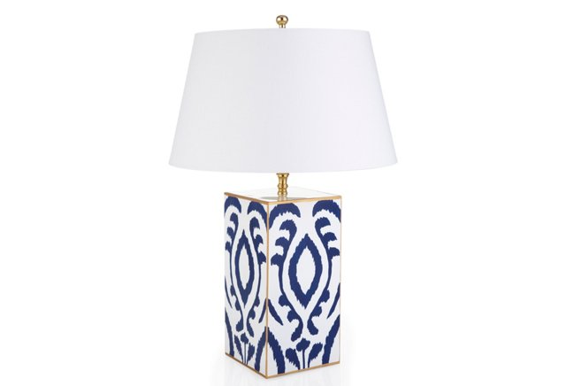 Ikat Vase Lamp, Navy