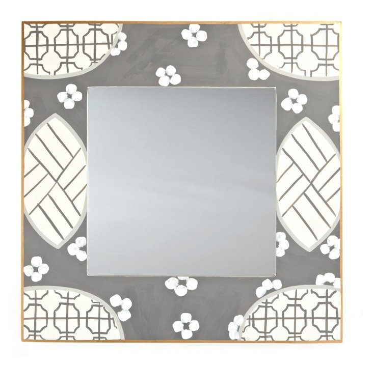 Canton Square Mirror, Gray