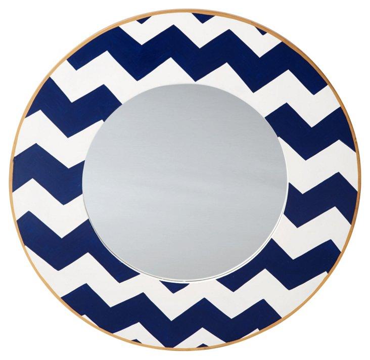"""Chevron 24"""" Round Mirror, Blue"""