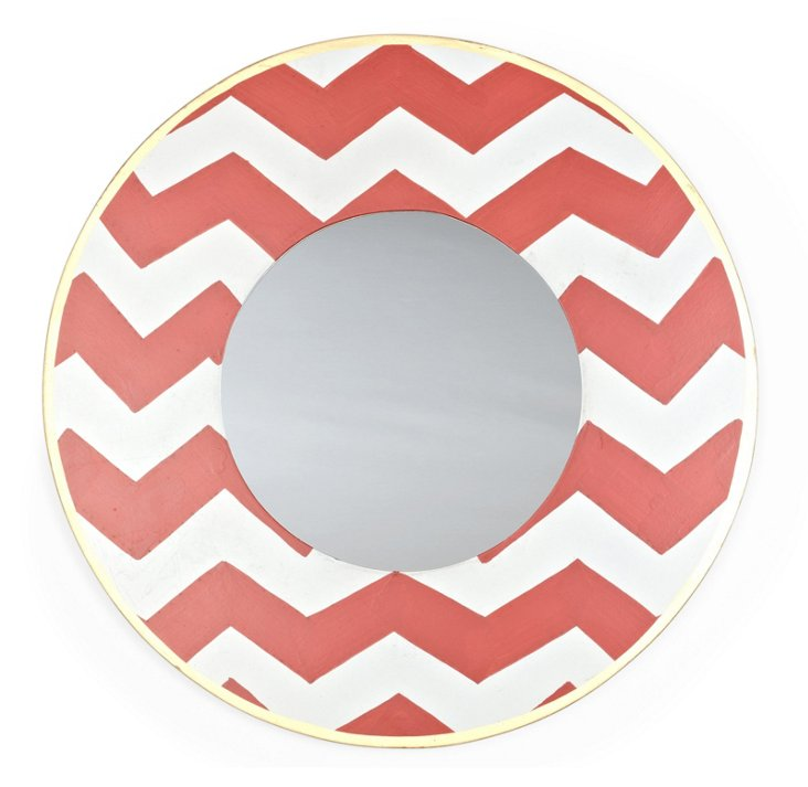 Chevron Round Mirror, Orange