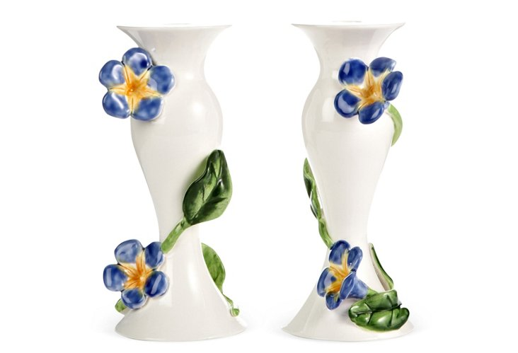 Pair of Morning Glory Candlesticks