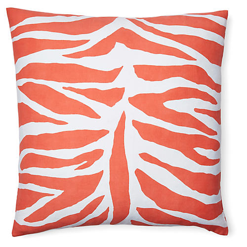 Zebra 18x18 Cotton Pillow, Orange
