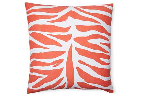 Zebra 18x18 Cotton Pillow, Orange