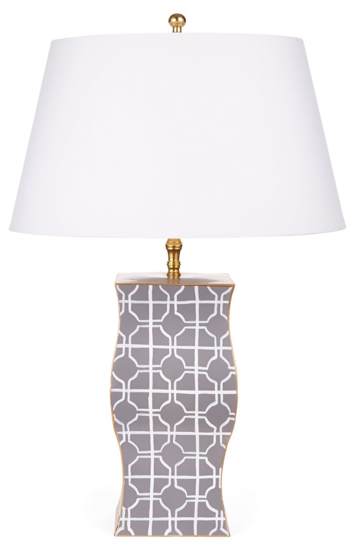 Cathay Vase Lamp, Dove Gray