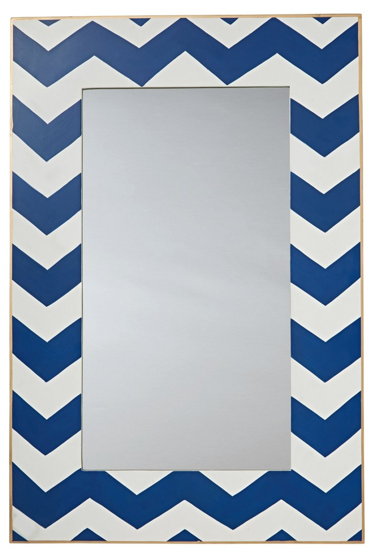 Chevron Wall Mirror, Navy