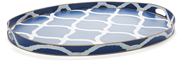 """28"""" Hand-Painted Trellis Oval Tray, Navy"""