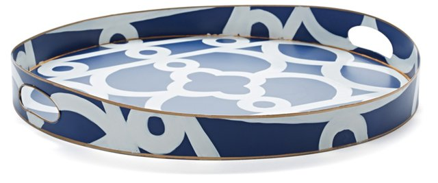 "22"" Hand-Painted Ming Round Tray, Navy"