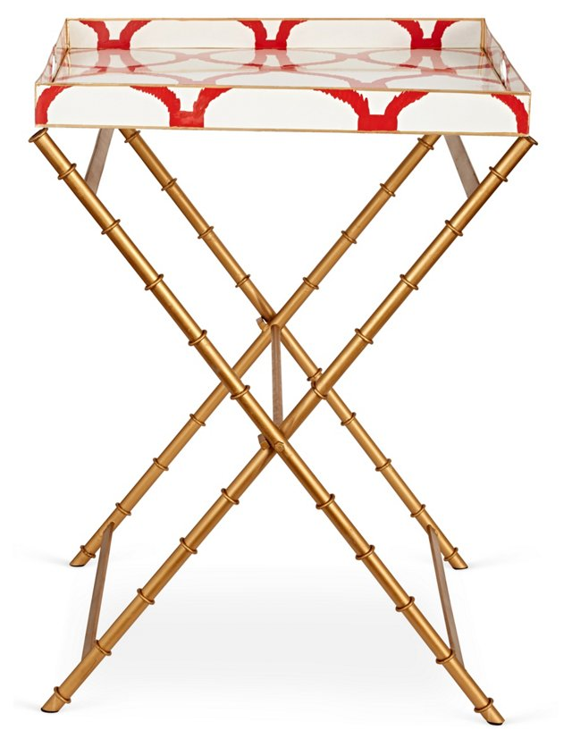 Hand-Painted Trellis Tray Table, Red