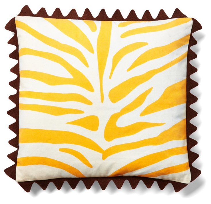 Zebra 16x16 Cotton Pillow, Yellow