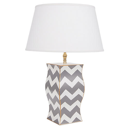 Bargello Vase Lamp, Gray