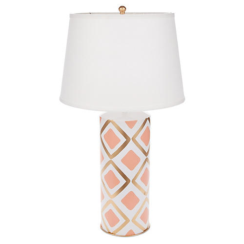 Haslam Stacked Table Lamp, Salmon