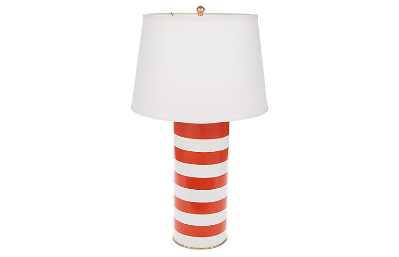 Stacked Table Lamp, Orange Stripe