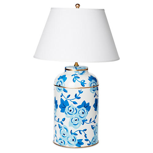 Large Chintz Table Lamp, Blue