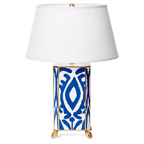 Ikat Table Lamp, Navy
