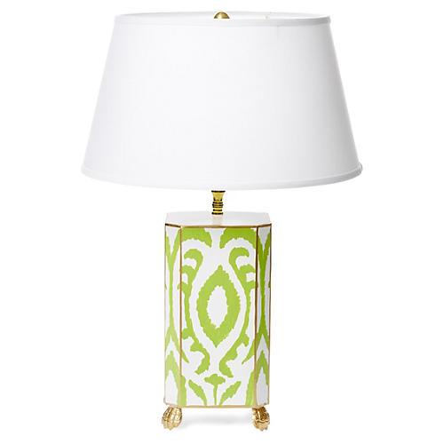 Ikat Table Lamp, Green