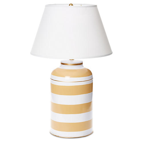 Taupe Stripe Tea Caddy Lamp
