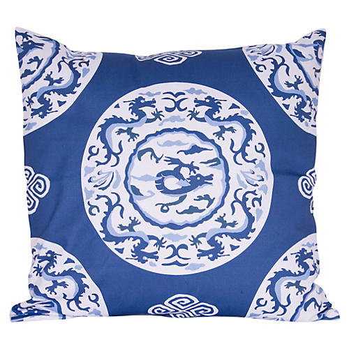 Dragon 22x22 Pillow, Blue