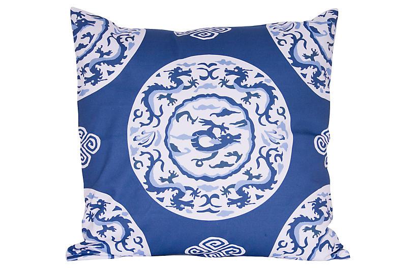 Dragon 22x22 Pillow, Blue