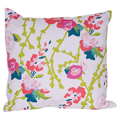 Chintz 22x22 Pillow, Pink/Green